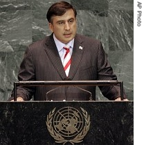 Georgian President Mikhail Saakashvili addresses the 61st sesssion of the United Nations General Assembly at U.N. headquarters