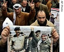 Palestinians participate a rally to protest Saddam Hussein's execution in Jenin, 31 Dec 2006<br />