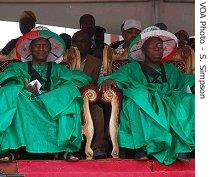 PDP presidential candidate, Umaru Yar'Adua, left, with current Nigerian President Olusegun Obasanjo on the right